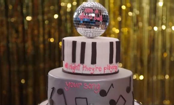 Torta di compleanno decorata: Disco Music